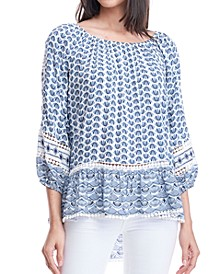 Mixed-Print Off-The-Shoulder Top