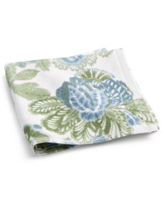 """Blue Jacobean Floral Cotton 13"""" x 13"""" Wash Towel"""
