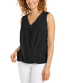 Sleeveless Studded Draped Top, Created for Macy's