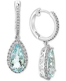 EFFY® Aquamarine (4-1/4 ct.t.w.) & Diamond (1/2 ct. t.w.) Drop Earrings in 14k White Gold