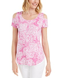Printed Cold-Shoulder Scoop-Neck Top, Created for Macy's