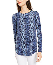 Michael Michael Kors Python-Print Lace-Up Top, Regular & Petite Sizes