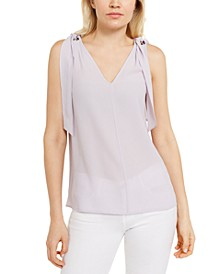 Sleeveless Ring-Tie Top, Regular & Petite Sizes