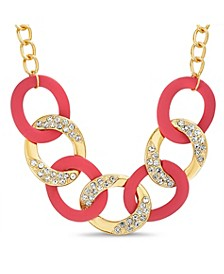 Rhinestone Red Curb Chain Necklace