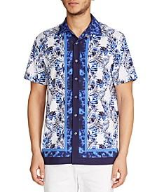 Men's Slim Fit Performance Stretch Leaf Print Short Sleeve Camp Shirt