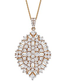 "Diamond Baguette Cluster (2 ct. t.w.) 20"" Pendant Necklace in 14k Gold, Created for Macy's"