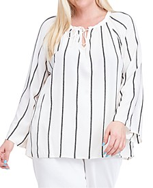Plus Size Embroidered-Stripe Peasant Top