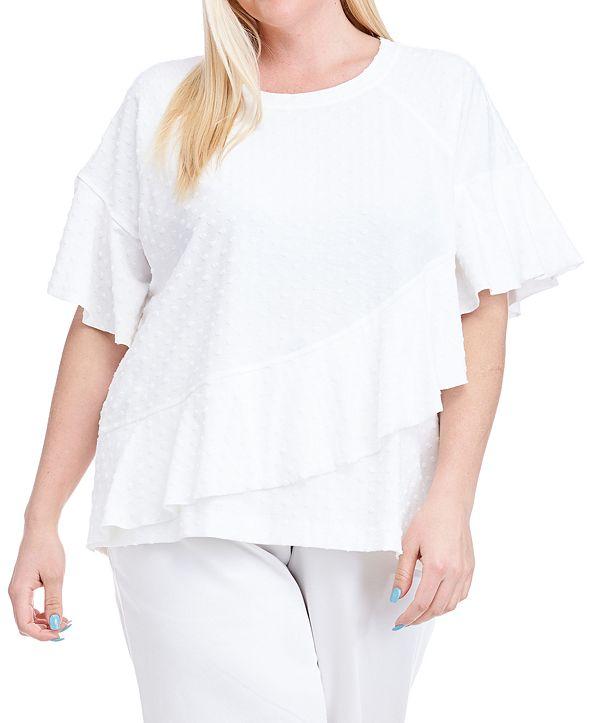 Fever Plus Size Ruffled Short-Sleeve Sweatshirt