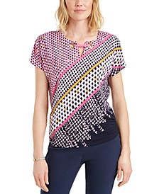 Petite Geo-Print Top, Created for Macy's