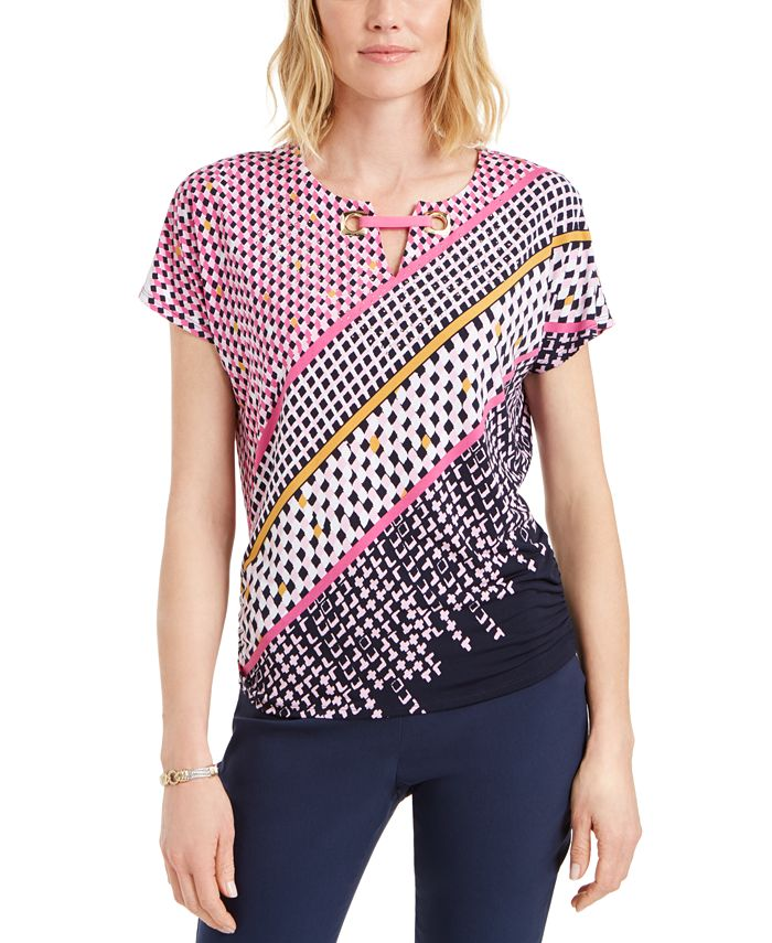 JM Collection - Printed Grommet-Keyhole Top, Created for Macy's