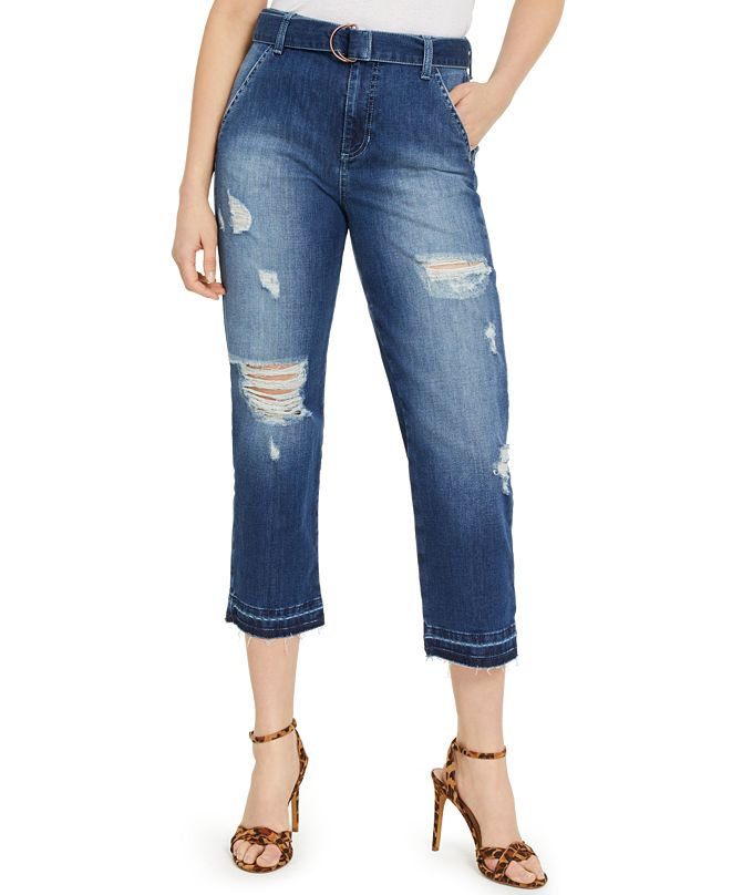 GUESS Belted Straight Crop Jeans
