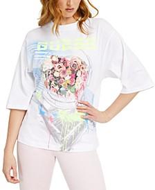 Cotton Space-Bouquet Graphic T-Shirt