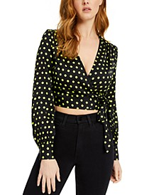 Gladys Dot-Print Wrap Top