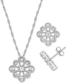 2-Pc. Set Diamond Flower Pendant Necklace & Matching Stud Earrings (1/6 ct. t.w.) in Sterling Silver