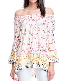 Printed Smocked-Neck Top