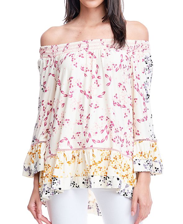 Fever Printed Smocked-Neck Top