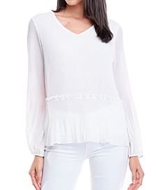 Pleated Peplum Blouse