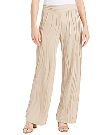 Petite Wave-Knit Pull-On Pants, Created for Macy's