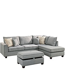 Venetian Worldwide Siena 3-piece Sectional Sofa with Storage Ottoman