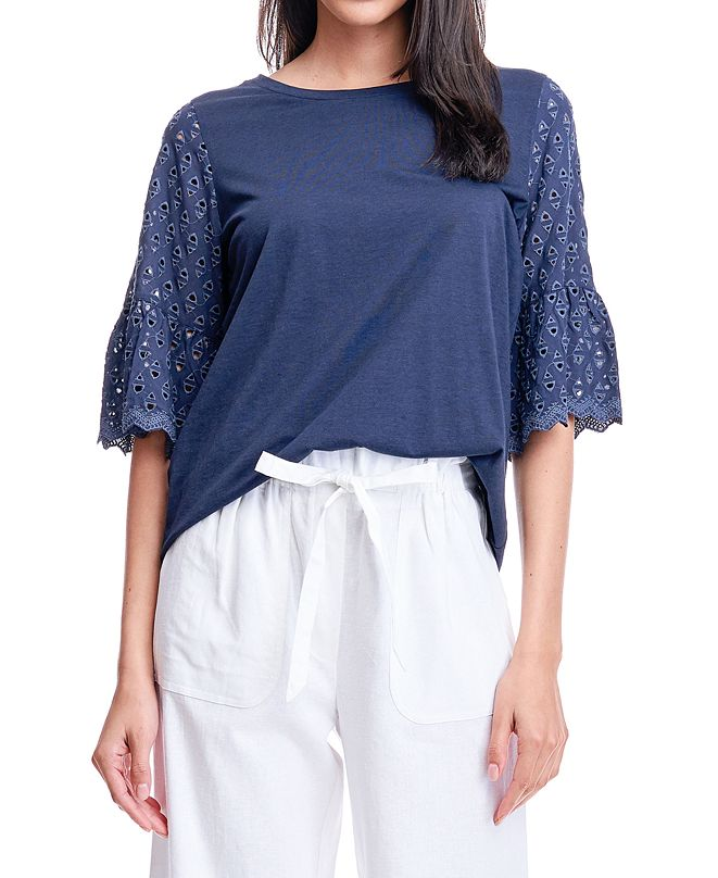 Fever Eyelet Sleeve Top