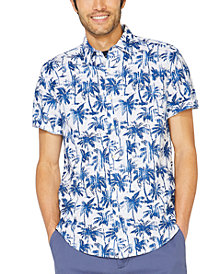 Nautica Men's Blue Sail Linen Palm-Print Shirt, Created for Macy's