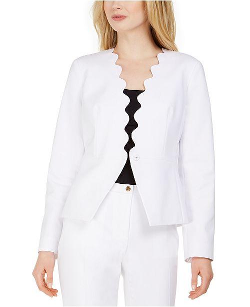 Calvin Klein Petite Scalloped Open-Front Jacket