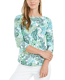 Petite Cotton Printed Top, Created for Macy's