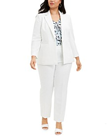 Plus Size Pinstriped Blazer, Pleated-Neck Camisole & Skinny Pants