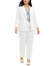 Nine West Plus Size Pinstriped Blazer, Pleated-Neck Camisole & Skinny Pants
