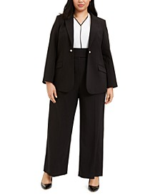 Plus Size One-Button Blazer, Colorblocked Blouse & Faux-Pearl-Detail Pants