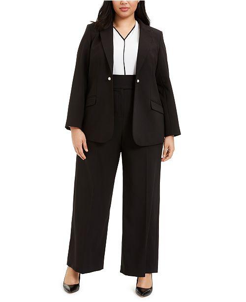 Calvin Klein Plus Size One-Button Blazer, Colorblocked Blouse & Faux-Pearl-Detail Pants