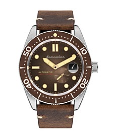 Men's Croft Automatic Brown Genuine Leather Strap Watch 43mm