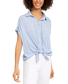 Juniors' Tie-Front Button-Up Shirt