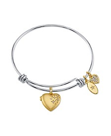 Satin Heart Locket Adjustable Bangle Bracelet in Stainless Steel