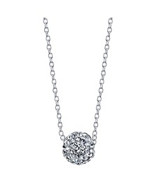Fine Silver Plated Pave Crystal Ball Necklace