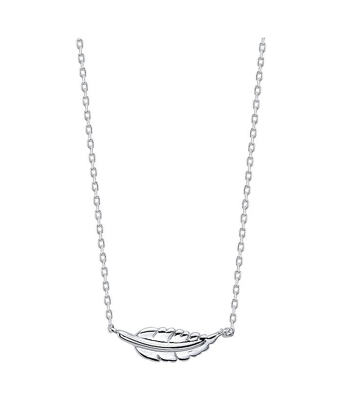 Unwritten - Fine Silver Plated Dainty Station Feather Necklace