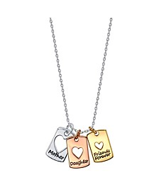 "Tri-Tone Fine Plated Silver ""Mother Daughter Friends Forever"" Heart Pendant Necklace"