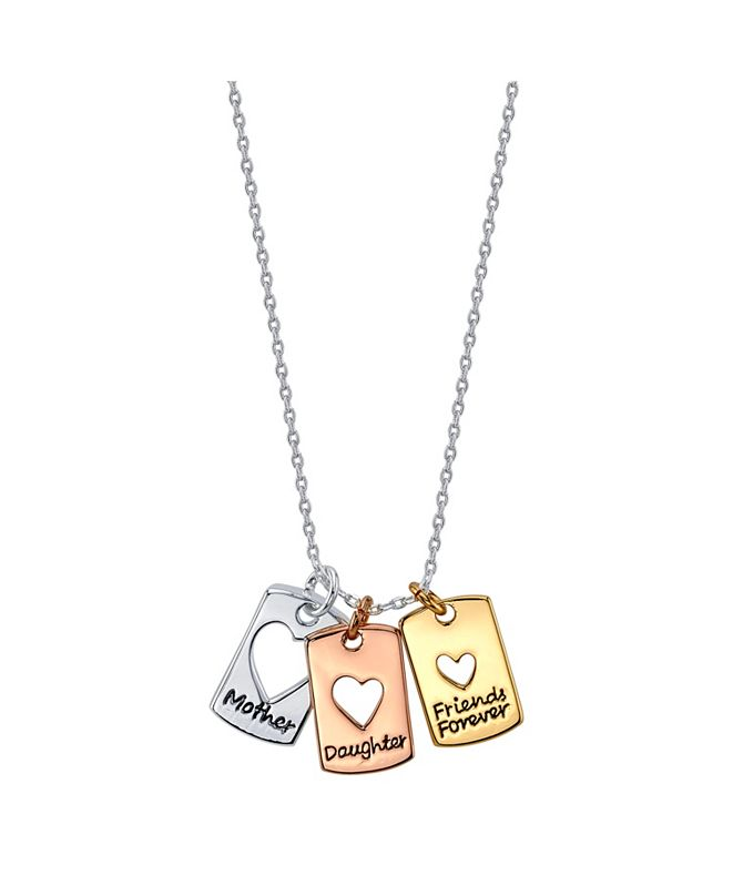 "Unwritten Tri-Tone Fine Plated Silver ""Mother Daughter Friends Forever"" Heart Pendant Necklace"