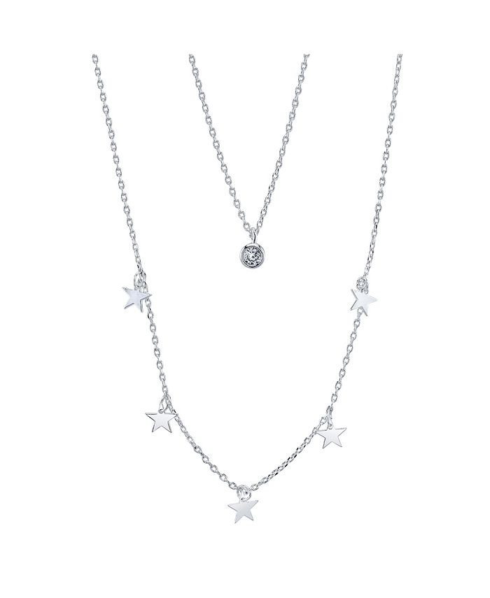 Unwritten - Fine Silver Plated Star Bead Duo Necklace with Crystal Pendant