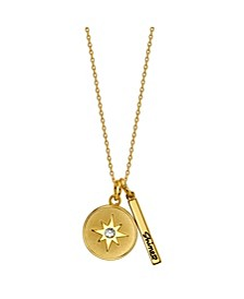 "Gold Flash Plated ""Life is Full of Endless Possibilities"" Star Disc and Bar Necklace"