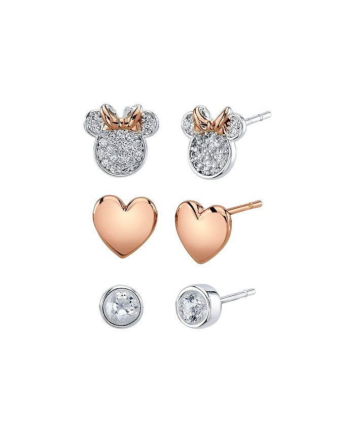 Disney - Three Pair Silver Plated Two Tone Rose Gold Minnie Mouse Earring Set with Rose Gold Heart and Bezel CZ Stud