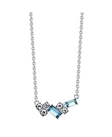 Fine Silver Plated Aqua and Clear Swarovski Crystal Pendant Necklace by David Tutera Everyday Celebrations