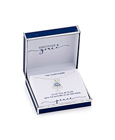 Gratitude & Grace Fine Silver Plated Cubic Zirconia Hamsa Pendant Necklace