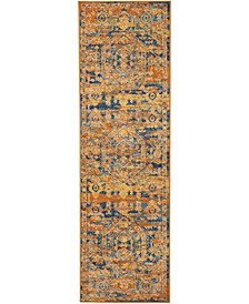 "Zeal ZEA07 Teal, Maize 2'2"" x 7'6"" Runner Rug"