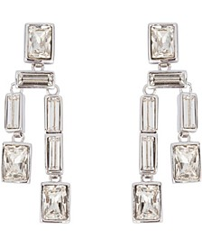 Rhodium Plated Twin Drop Clip On Earring