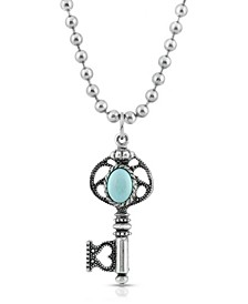Silver-Tone Turquoise Key Necklace