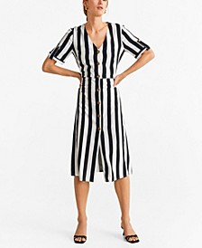 Buttoned Stripped Dress