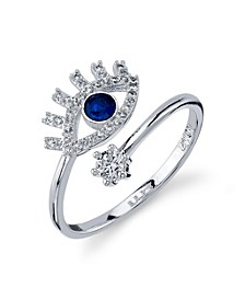 Silver Plated Cubic Zirconia Evil Eye Wrap Around Ring