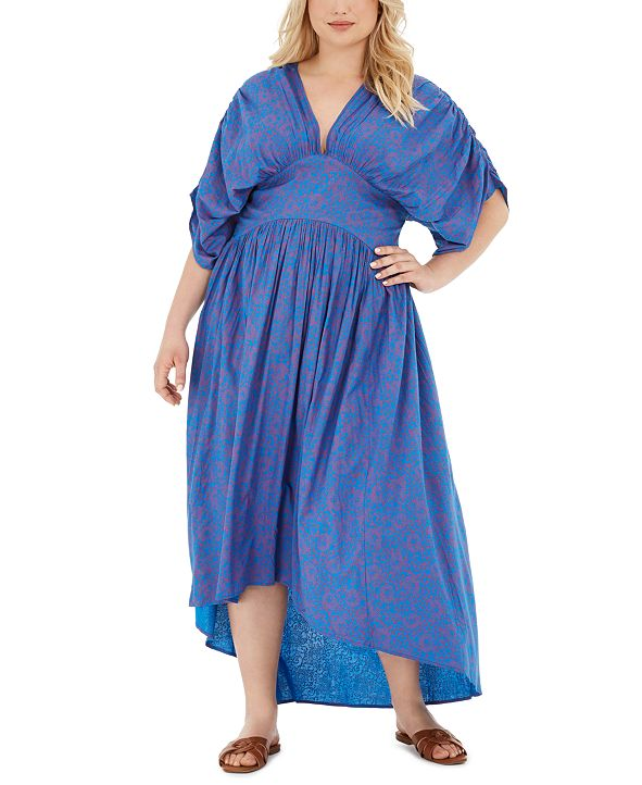 Band of Gypsies Trendy Plus Size Floral-Print High-Low Dress
