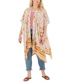 Trendy Plus Size Printed Kimono Jacket